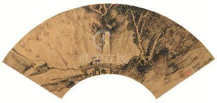 万历28年(1600) 行旅图 金扇 水墨纸本