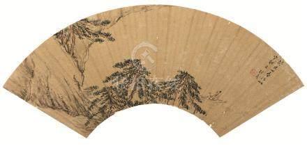 万历41年(1613) 山水图 金扇 设色纸本