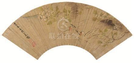 万历20年(1592) 花鸟图 金扇 设色纸本