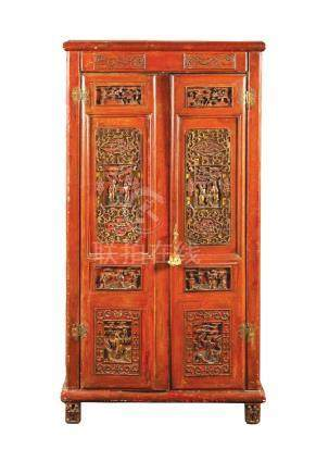Lacquered and partially gilded wood closet China, 19th