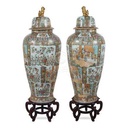 Pair of large polychrome Canton porcelain potiches