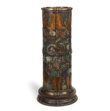 Bronze and cloisonne enamel umbrella stand China, 19th
