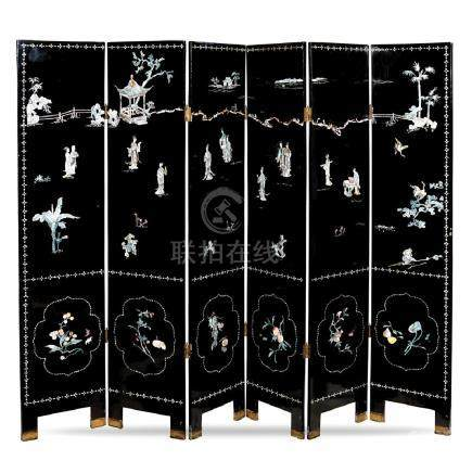 Lacquer wood six fold screen China, late 19th century