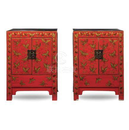 Pair of lacquered wood cupboards China,19th - early