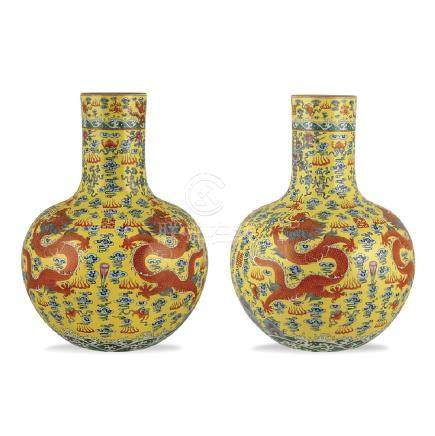 Pair of rose family porcelain vases, China Qing dinasty