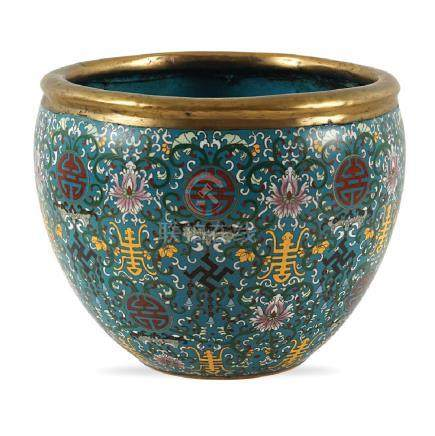 Bronze and cloisonne enamel cachepot old oriental