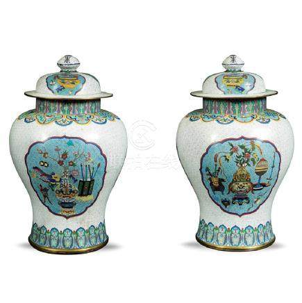 Pair cloisonne enamels potiches China, 19th - 20th