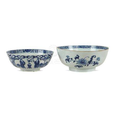 Two porcelain bowls China, 18th century 9x23 - 11x26 cm