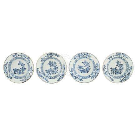 Four porcelain plates China, Qing dinasty 18th century
