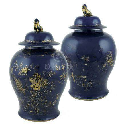 Pair of blue porcelain potiches China, 18th century