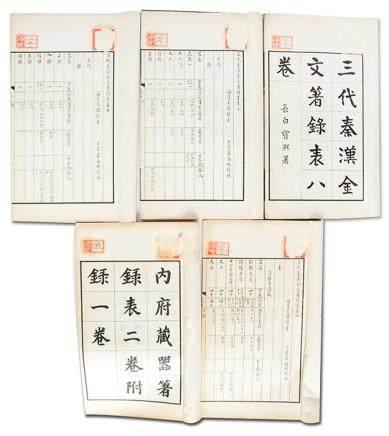 《三代秦漢金文著錄表八卷》四冊、《內府藏器著錄表二卷附錄一卷》一冊 癸酉 墨緣堂印