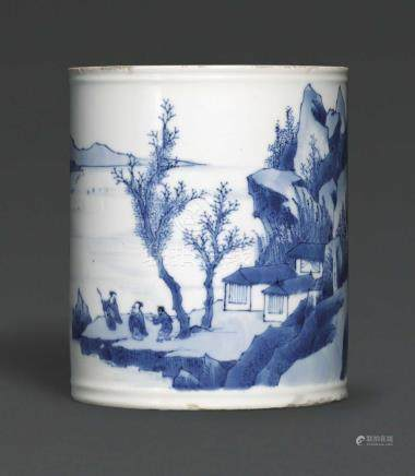 A SMALL BLUE AND WHITE BRUSH POT