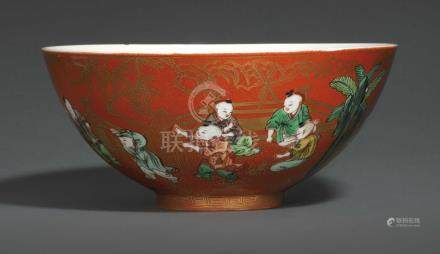 A CORAL-GROUND FAMILLE VERTE 'BOYS' BOWL