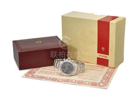 Tudor. A fine stainless steel automatic chronograph wristwatch with date, bracelet, guarantee and box