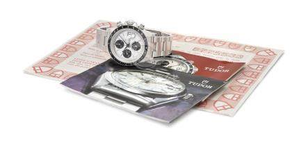 Tudor. A fine stainless steel automatic chronograph wristwatch with date, bracelet and guarantee