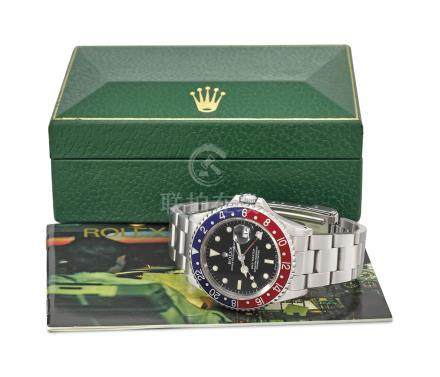 ROLEX. A FINE AND RARE A STAINLESS STEEL DUAL TIME AUTOMATIC WRISTWATCH WITH SWEEP CENTRE SECONDS, DATE, BRACELET AND BOX