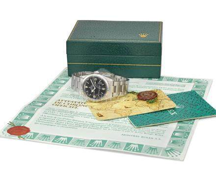 Rolex. A fine stainless steel automatic wristwatch with sweep centre seconds, bracelet, guarantee and box
