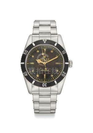 ROLEX. A RARE STAINLESS STEEL AUTOMATIC WRISTWATCH WITH SWEEP CENTRE SECONDS, BRACELET, BLANK GUARANTEE AND BOX