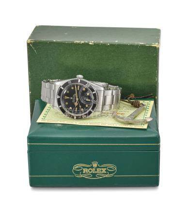 Rolex. A fine and extremely rare stainless steel automatic wristwatch with sweep centre seconds, black gloss white Swiss underline service dial with silver 100m=330ft depth rating, Gay Frères expanding riveted Oyster bracelet, Rolex Oyster Guaranteed 100m/330feet under water anchor, blank guarantee and box