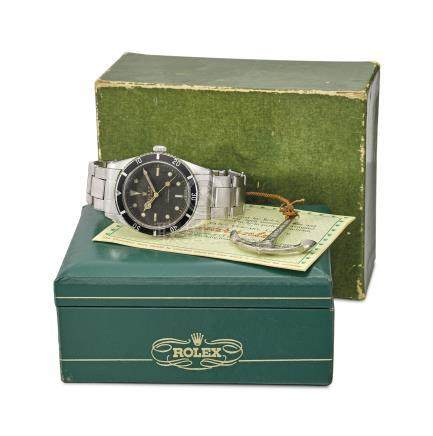 Rolex. A rare stainless steel automatic wristwatch with sweep centre seconds, bracelet, Rolex Oyster Guaranteed 100m/330feet under water anchor, blank guarantee and box
