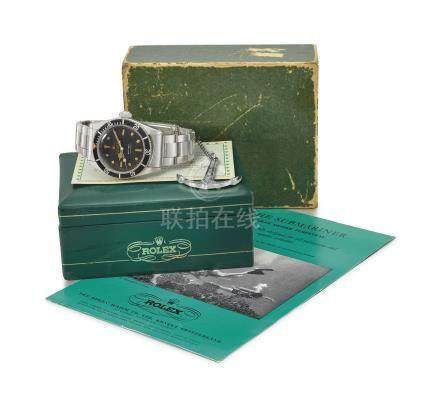 "ROLEX. A VERY RARE STAINLESS STEEL AUTOMATIC WRISTWATCH WITH SWEEP CENTRE SECONDS, BLACK LACQUER ""SPIDER"" DIAL, BRACELET, ROLEX OYSTER GUARANTEED 200M/660FEET UNDER WATER ANCHOR, BLANK GUARANTEE, BROCHURE AND BOX"