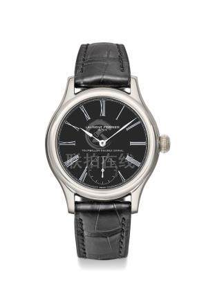 Laurent Ferrier. An extremely fine and rare 18K white gold tourbillon wristwatch with double balance springs, black onyx dial, certificate and box