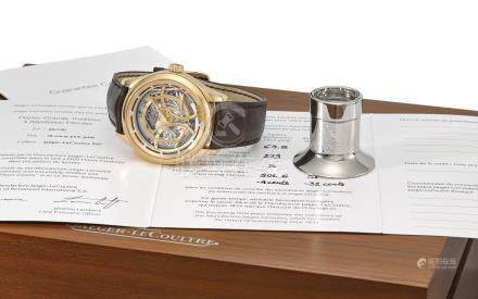 Jaeger-LeCoultre. A very fine and rare 18K pink gold semi-skeletonized limited edition minute repeating wristwatch with 15 day power reserve, spring torque indication, guarantee and box