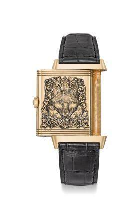 JAEGER-LECOULTRE. A FINE AND RARE 18K PINK GOLD REVERSIBLE WRISTWATCH WITH DAY, DATE, ETCHED HUNTING MOTIF, ORIGINAL CERTIFICATE AND BOX