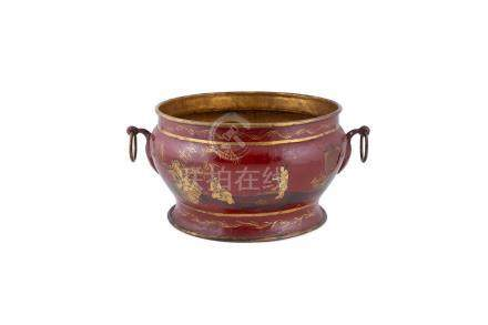 A CIRCULAR CHINIOSERIE CRIMSON-LACQUERED TWIN HANDLED METAL POT, decorated with Oriental figures