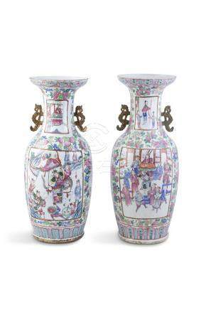 A PAIR OF CANTON EXPORT VASES, 19TH CENTURY, to a typical design in enamels with figural panels.