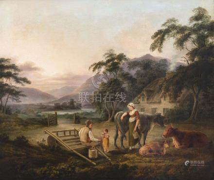 JOHN GEORGE MULVANY (1766-1838)A Family at Rest near Carlingford LoughOil on canvas 63.5 x 75.
