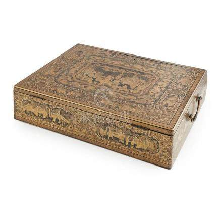 CANTON LACQUER WRITING BOX AND HINGED COVER QING DYNASTY, 19