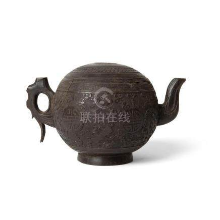 CARVED COCONUT SHELL TEAPOT AND COVER QING DYNASTY, 19TH CEN