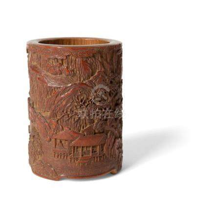 CARVED BAMBOO BRUSH POT QING DYNASTY, 19TH CENTURY 13cm high