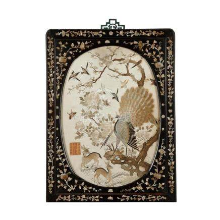 EMBROIDERED SILK 'BIRDS AND DEER' HANGING PANEL SHUN CHANG L