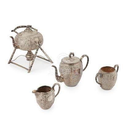 FOUR-PIECE SILVER TEA SET DE CHANG AND C.S. MARKS, 19TH CENT