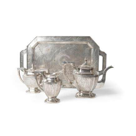 EXPORT SILVER FOUR-PIECE TEA SET LATE 19TH/EARLY 20TH CENTUR