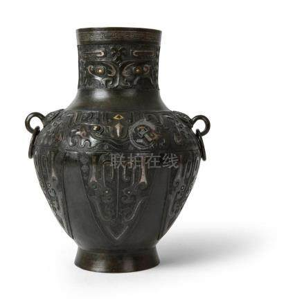 GOLD AND SILVER-INLAID BRONZE HU-FORM VASE QING DYNASTY, 18T