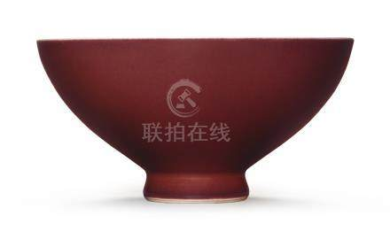 清乾隆   霽紅釉盌《大清乾隆年製 》款