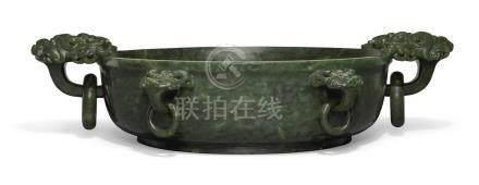 清乾隆   御製和闐碧玉仿古六獸耳銜環洗