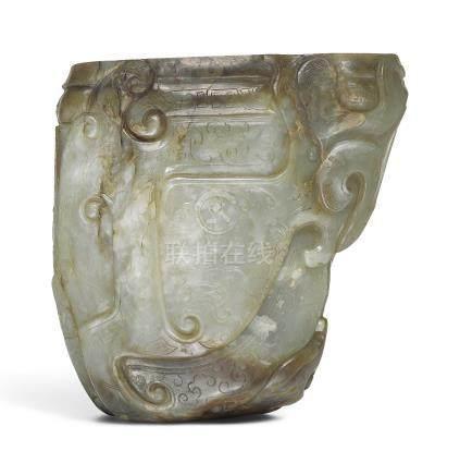 十七世紀   青白玉饕餮紋觥