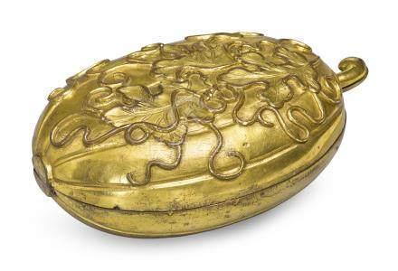 清十八世紀   鎏金銅瓜形蓋盒