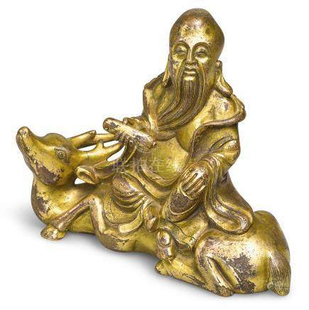 十七世紀   鎏金銅壽老筆擱