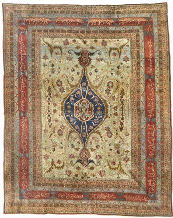 A silk and metal-thread Heriz rug, Northwest Persia