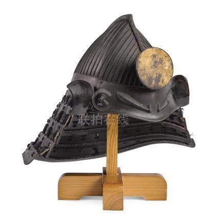 A RARE 32-PLATE MOMONARISUJI-BACHI KABUTO [HELMET] EDO PERIOD, 17TH CENTURY