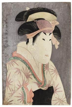 TOSHUSAI SHARAKU (ACTIVE 1794-1795)PORTRAIT OF THE ACTOR SEGAWA KIKUNOJO III AS OSHIZU,FROM THE PLAYHANA-AYAME BUNROKU SOGA