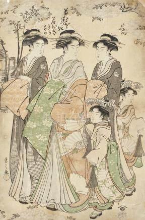 CHOBUNSAI EISHI (1756-1829)COURTESANS PARADING UNDER CHERRY BLOSSOMS, ACCOMPANIED BY TWOKAMURO EDO PERIOD, 18TH CENTURY