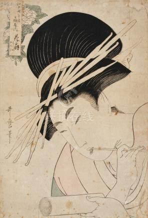 KITAGAWA UTAMARO (1753?-1806)PEONY: HANAOGI OF THE OGIYA AT EDO-MACHI ITCHOME EDO PERIOD, 19TH CENTURY