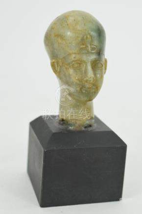 GREEN PORPHYRITE EGYPTIAN PHARAOH HEAD