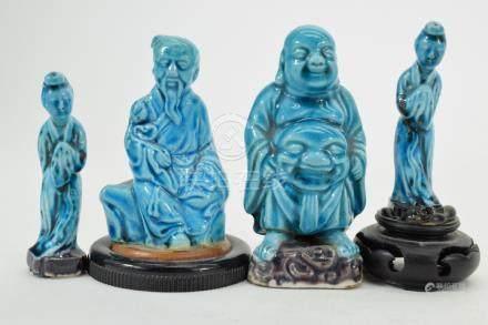 4 TURQUOISE GLAZE PORCELAIN CHINESE FIGURES